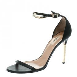 c3cec256c85f Valentino Black Leather Rockstud Heel Embellished Ankle Strap Open Toe  Sandals Size 41