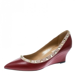 12dd6189680 Valentino Red Beige Leather Rockstud Pointed Toe Wedge Pumps Size 38.5