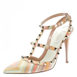 d68575cc546 Valentino Native Couture 1975 Print Leather Rockstud Sandals Size 39