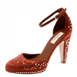 00606955226 Valentino Orange Leather And Embellished Suede Teodora Ankle Strap Platform  Pumps Size 38