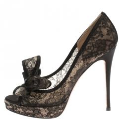 c977c9703a Valentino Black Floral Couture Bow Lace Peep Toe Platform Pumps Size 37.5