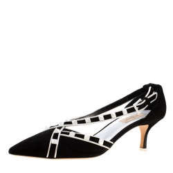 5389dcf94a Valentino Monochrome Suede Free Rockstud Cross Strap Pointed Toe Pumps Size  40