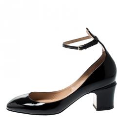 a5db4b09d0 Valentino Black Patent Leather Tango Ankle Strap Pumps Size 36.5
