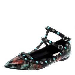 Valentino Multicolor Python Rolling Rockstud Ankle Strap Flats Size 40