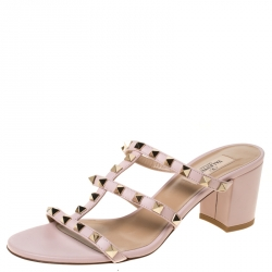 Valentino Light Pink Leather Rockstud Caged Slide Sandals Size 38