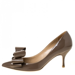 Valentino Cedel Brown Patent Leather Bow Pointed Toe Pumps Size 37
