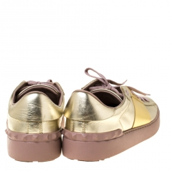 Valentino Metallic Gold Band Leather Open Low Top Sneakers Size 41