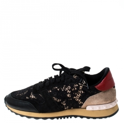 Valentino Multicolor Suede Leather And Macramé Lace Rockrunner Sneakers Size 39