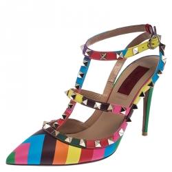 Valentino Multicolor Chevron Print Leather Rockstud Double Ankle Strap Caged Pumps Size 38