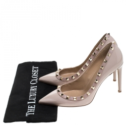 Valentino Beige Patent Leather Rockstud Pointed Toe Pumps Size 37