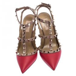 Valentino Red Leather Rockstud Cage Sandals Size 39