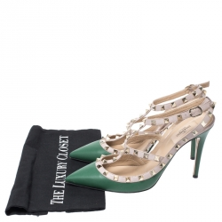Valentino Green/Beige Leather Rockstud Ankle Strap Cage Sandals Size 41