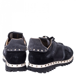 Valentino Black Suede and Fabric Studded Low Top Sneakers Size 39.5