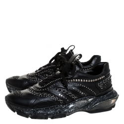 Valentino Black Leather Studded Low Top Sneakers Size 41