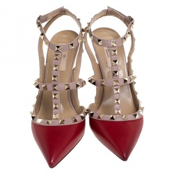 Valentino Rosso Red/Beige Leather Rockstud Ankle Strap Sandals Size 38