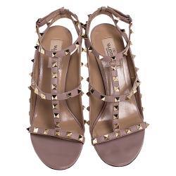 Valentino Black/Beige Leather Rockstud Ankle Strap Sandals Size 38.5