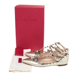 Valentino Gold Leather Rockstud Caged Ballet Flats Size 39