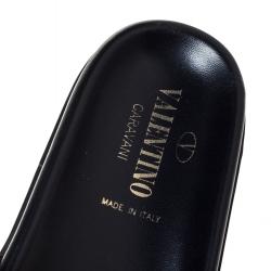 Valentino Black Leather Rockstud Flat Lock Slide Sandals Size 39.5