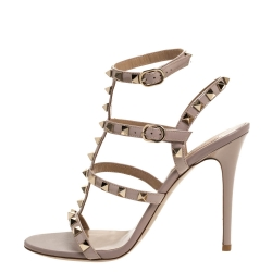 Valentino Beige Patent Leather Rockstud Ankle Strap Sandals Size 38.5