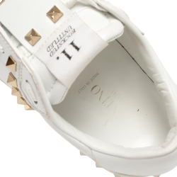 Valentino White Leather Open Rockstud  Sneakers Size 36