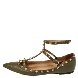 Valentino Green Leather Rockstud Ankle Strap Ballet Flats Size 40