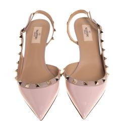 Valentino Blush Pink Patent Leather Rockstud Slingback Sandals Size 39.5