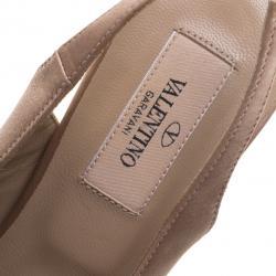 Valentino Beige Satin Lace Bow Detail Peeptoe Slingback Sandals Size 37.5
