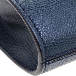 Valextra Navy Blue Leather B Cube Crossbody Bag