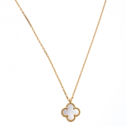 Van Cleef & Arpels Sweet Alhambra Mother of Pearl 18K Yellow Gold Pendant Necklace
