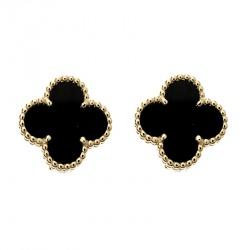 Van Cleef & Arpels Vintage Alhambra Onyx 18k Yellow Gold Stud Earrings