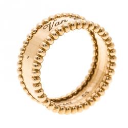 Van Cleef Arpels Perlee Signature Rose Gold Ring Size 53