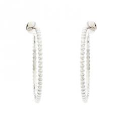 Van Cleef & Arpels Perlee Pearls 18K White Gold Hoop Earrings
