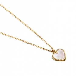 Van Cleef & Arpels Sweet Alhambra Mother of Pearl  18k Yellow Gold Heart Pendant Necklace