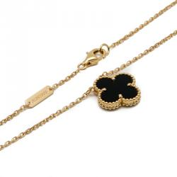 Van Cleef Onyx Vintage Alhambra 18K Yellow Gold Necklace