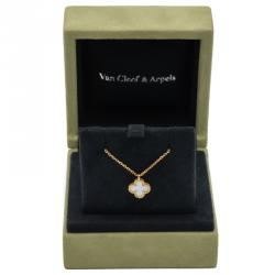 Van Cleef & Arpels Sweet Alhambra Mother Of Pearl Yellow Gold Necklace