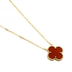 Van Cleef & Arpels Vintage Alhambra Carnelian 18k Yellow Gold Pendant Necklace