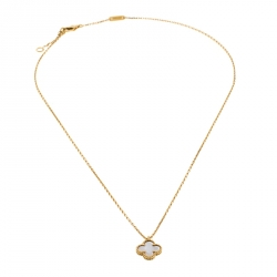 Van Cleef & Arpels Sweet Alhambra Mother of Pearl 18k Yellow Gold Necklace