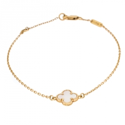 Van Cleef and Arpels Sweet Alhambra White Mother of Pearl 18K Yellow Gold Bracelet