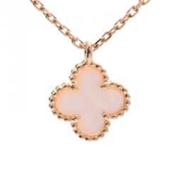 Van Cleef & Arpels Alhambra MOP Yellow Gold Pendant Necklace