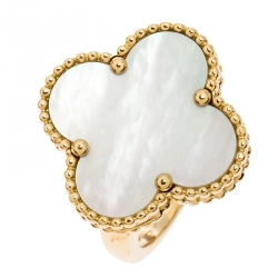 Van Cleef & Arpels Magic Alhambra White Mother of Pearl 18k Yellow Gold Ring Size 50