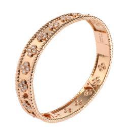 Van Cleef & Arpels Perlee Clover 18K Rose Gold Diamond Bracelet