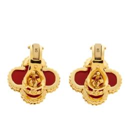 Van Cleef & Arpels Vintage Alhambra Carnelian 18k Yellow Gold Stud Earrings