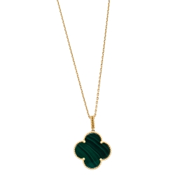 Van Cleef & Arpels Magic Alhambra Malachite 18K Yellow Gold Pendant Necklace