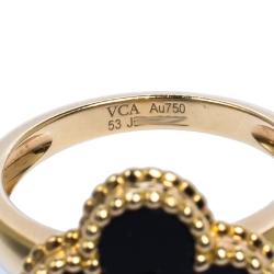 Van Cleef and Arpels Vintage Alhambra Onyx Diamond 18K Yellow Gold Ring 53