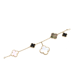 Van Cleef & Arpels Magic Alhambra 5 Motifs Mother of Pearl and Onyx 18K Yellow Gold Bracelet