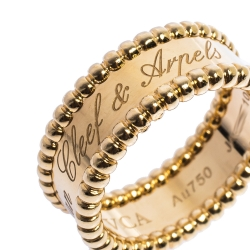 Van Cleef & Arpels Perlee Signature 18K Yellow Gold Band Ring Size 53