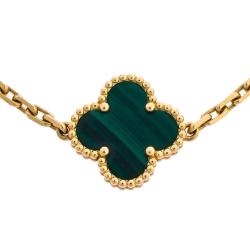 Van Cleef & Arpels Vintage Alhambra 5 Motifs Malachite 18K Yellow Gold Bracelet