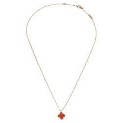 Van Cleef & Arpels Sweet Alhambra Carnelian 18K Rose Gold Pendant Necklace