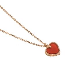 Van Cleef & Arpels Sweet Alhambra Heart Carnelian 18K Rose Gold Necklace