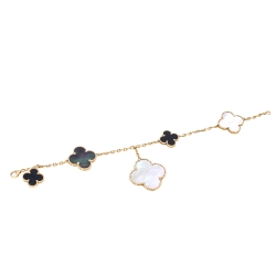 Van Cleef & Arpels Magic Alhambra 5 Motifs Mother of Pearl Onyx 18K Yellow Gold Bracelet
